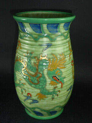 Charlotte Rhead - Crown Ducal Manchu Green & Gold Chinese Dragon Vase Signed • 65£