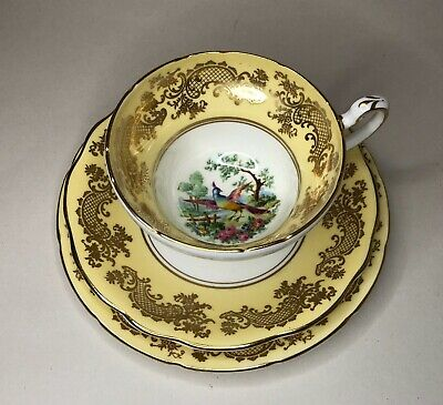 Foley Pattern V2866 Birds Of Paradise Yellow/gold Cup, Saucer And Side Plate • 50£