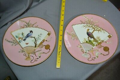 2  ANTIQUE JOHN MORTLOCK MINTON'S Handpainted Wall Plates Fans With Birds Design • 22£