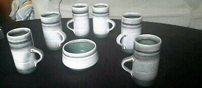 6 X COFFEE MUGS + BOWL BY CELTIC POTTERY, NEWLYN  - Set Of 7 • 30£