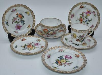 Collection 6 No. Antique 19thC Dresden Saucers And 2 Cups - Hand Painted Flowers • 0.99£