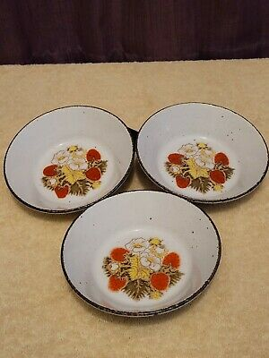 Vintage - Midwinter Stonehenge - Strawberry - Dessert / Cereal Bowl X 3  • 12.99£