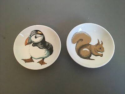Jersey Pottery Neptune Small Bowls/Pin  Dishes X 2. Puffin And Squirrel 11cm • 6£