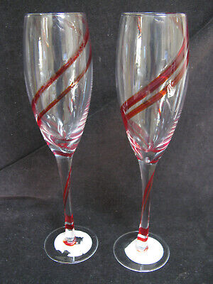 2 Pier 1 Red Double Swirline 10  Champagne Flutes Glasses  • 22£