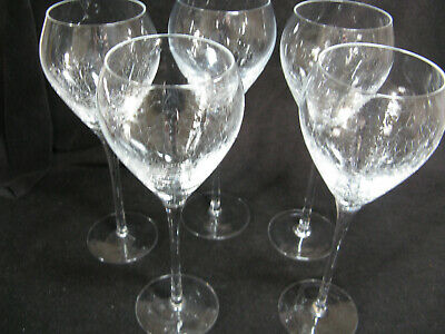 5 Pier 1 Reflections Crackled 9 3/4  Water Wine Glasses Crackle Pattern • 73.36£