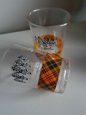 100 Pipers Large Whiskey Tartan Glasses Burns Night  • 5£