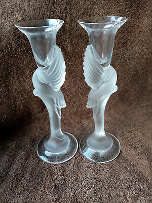 Igor Carl Fabergé Pair Of Moulded Crystal Dove Candlesticks • 195£