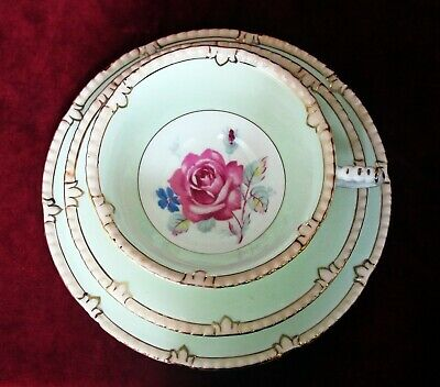 PARAGON CHINA TRIO, PINK CABBAGE ROSE PALE GREEN, GILDING, DOUBLE WARRANT 1940s • 22£