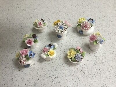 Collection Of Eight Royal Doulton Miniature Flowers Trinkets / Posies • 60£
