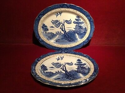 2 X Booths Real Old Willow Pattern 9072 Blue & White Gilt Serving Dishes C1930 • 20£