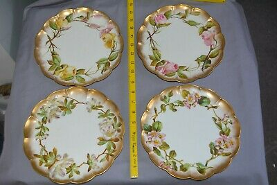 4 X GEORGE JONES & SONS Porcelain Plates - Scalloped Edge And Hand Painted Roses • 15£