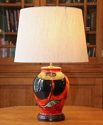 Large Poole Pottery Himalayan Poppy Table Lamp New Shade • 75£
