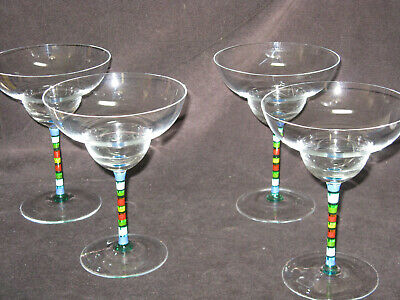 4 Crate & Barrel CAPRICE Margarita Glass Painted Striped Stem  Made In Hungary • 62.17£