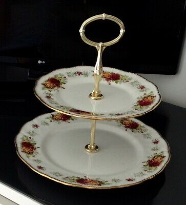 """Queens Rosina China Two Tier """"Stratford Pattern"""" Cake Plate • 12.99£"""