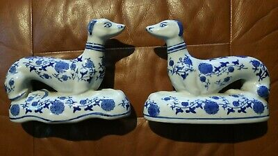 Pottery Greyhounds.Delft ?? Hunting Dogs.lurcher / Whippet.Perfect Pair. • 70£