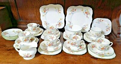 Tuscan Plant China Vintage Green Edge Floral Print Tea Set Plates Cups... • 45£
