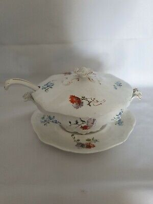 ROYAL DOULTON BURSLEM TUREEN WITH PLATE STAND & LADLE Rd No 289848 (1891-1901)17 • 9.99£