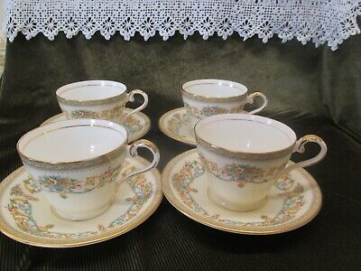 4 Stunning Aynsley China Cups And Saucers Pretty Floral  'henley' Design • 30£
