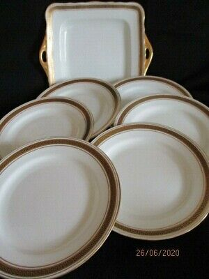 Samuel Radford Fenton Greek Key Border Cake Plate And Side Plates X 6 • 25.50£