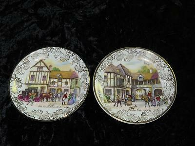 Pair Of Vintage China Pin Dishes MIDWINTER Coaching Hunting Scenes 1940s • 7.99£