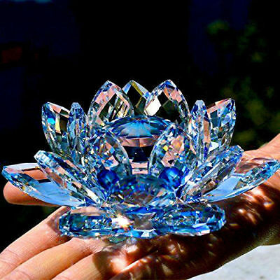Large Blue Crystal Lotus Flower Ornament With Gift Box  Crystocraft Home Decoruk • 20.99£