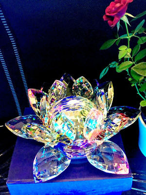 Large  Multi Crystal Lotus Flower Ornament With Gift Box  Crystocraft Home Decor • 15.99£