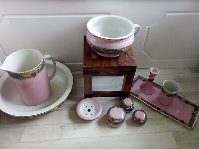 Pink Vanity Bedroom Wash Stand Set Pottery Bowl Jug Potty Candlestick Tray Pots  • 15£