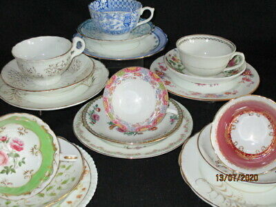 Antique Vintage China Teacups And Saucers, Plates Mismatched Trios X 6 • 20.50£