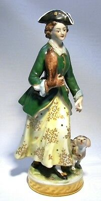 Volkstedt Rudolstadt  Figurine Woman With Falcon & Dog   • 74.99£