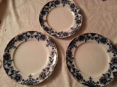 3 X Antique C1900  PERSIAN  Flow Blue & White  Plates Hollinshead & Kirkham  • 12£