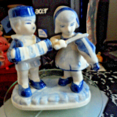 Pair Of Boy & Girl Dutch Figures. Musicians. Some Age Very Good 13 Cm Tall. • 5.20£