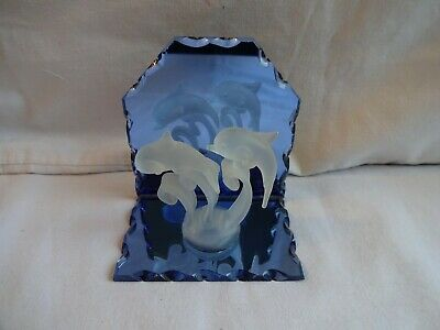 Glass Dolphins On A Blue Mirror Height 9 Cm X 9 Cm • 12£