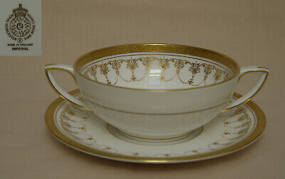 Royal Worcester  Imperial  (Gold) SOUP COUP & STAND • 29£