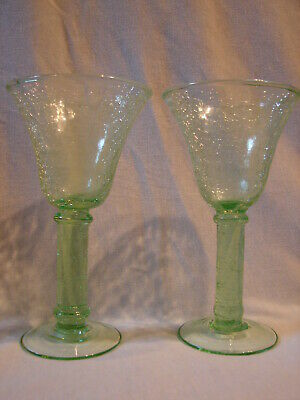 Awesome PAIR 7.75  Tall Pedastel LIME GREEN CRACKLE GLASS Wine Goblets • 10.30£