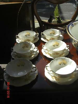 6 X Soup Cup And Stand Hammersley Golden Thistle (scottish Interest) • 79£
