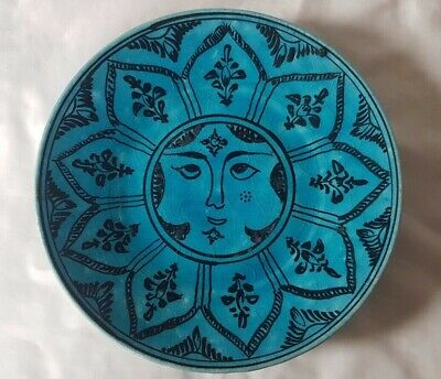 Striking Persian Design Turquoise Ceramic Plate, Possibly Mid 20th Century • 50£