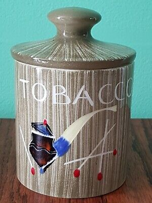 Retro 1950's POTTERY TOBACCO JAR & COVER Pipe & Matches Hand Painted • 11.99£