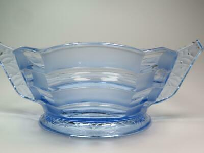Striking Glass Fruit Or Trifle Bowl Translucent Blue Part Frosted • 25£