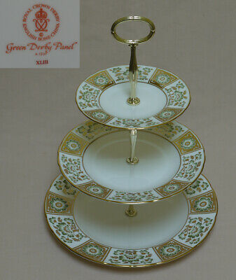 Royal Crown Derby  Green Derby Panel  THREE TIER CAKE STAND • 194£