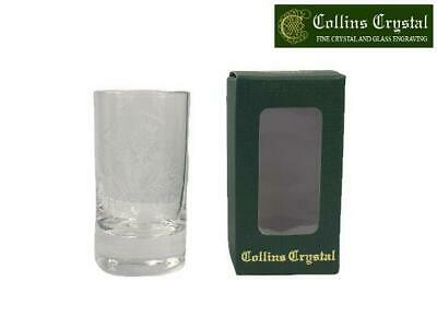 Collins Crystal Clan Tot Dram Glass With Scottish Thistle Engraving 2oz • 12.99£