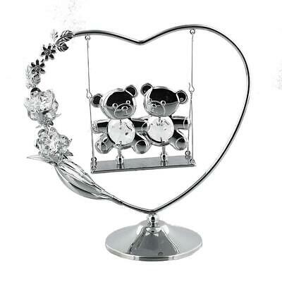 Twins Gift Teddy's On Swing With Crystal 8cm X 11cm Silver Plated SP205 • 9.99£