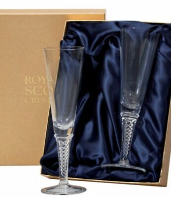Royal Scot Crystal Jacobean Air Twist Champagne Flute - Boxed Pair - RRP £95 • 45£