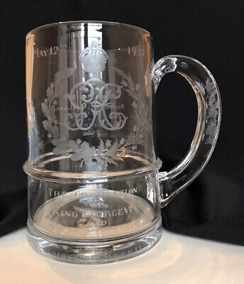 George VI 1937 Coronation Glass Tankard With Silver Coin - Thomas Goode & Co • 149£