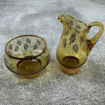 Vintage Amber Jug & Bowl Gold Leaf Pattern & Trim  • 19.99£