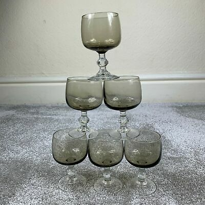 Coloured Glass Stemmed Brandy Cognac Snifters Glasses Set Of 6 Vintage Retro • 19.99£