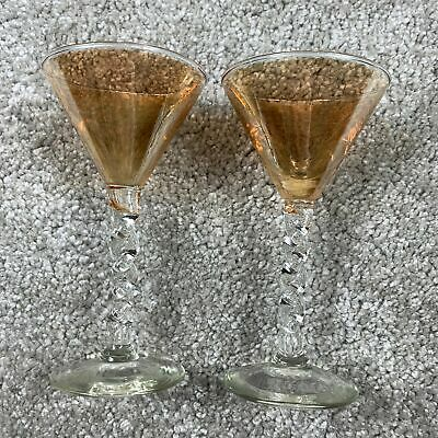 Vintage Amber Glass Iridescent Twisted Stem Cocktail Small Glasses Orange • 19.99£