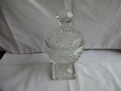 Lead Crystal Cut Glass Jam Honey Relish Preserve Pot With Lid Height 18 Cm  • 18£