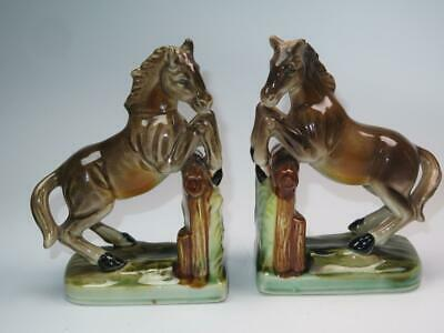 VINTAGE CHINA BOOKENDS Horse Jumping Equestrian 238A 238B • 24.99£