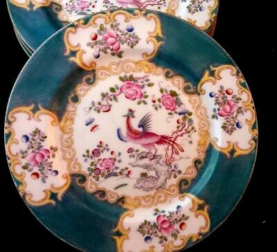 Antique Minton Set Of 4 Plates Cockatice Pattern Design 4910 Collectible England • 99£