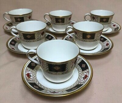 Royal Crown Derby  Derby Border  Set Of Six CUP AND SAUCERS • 89£